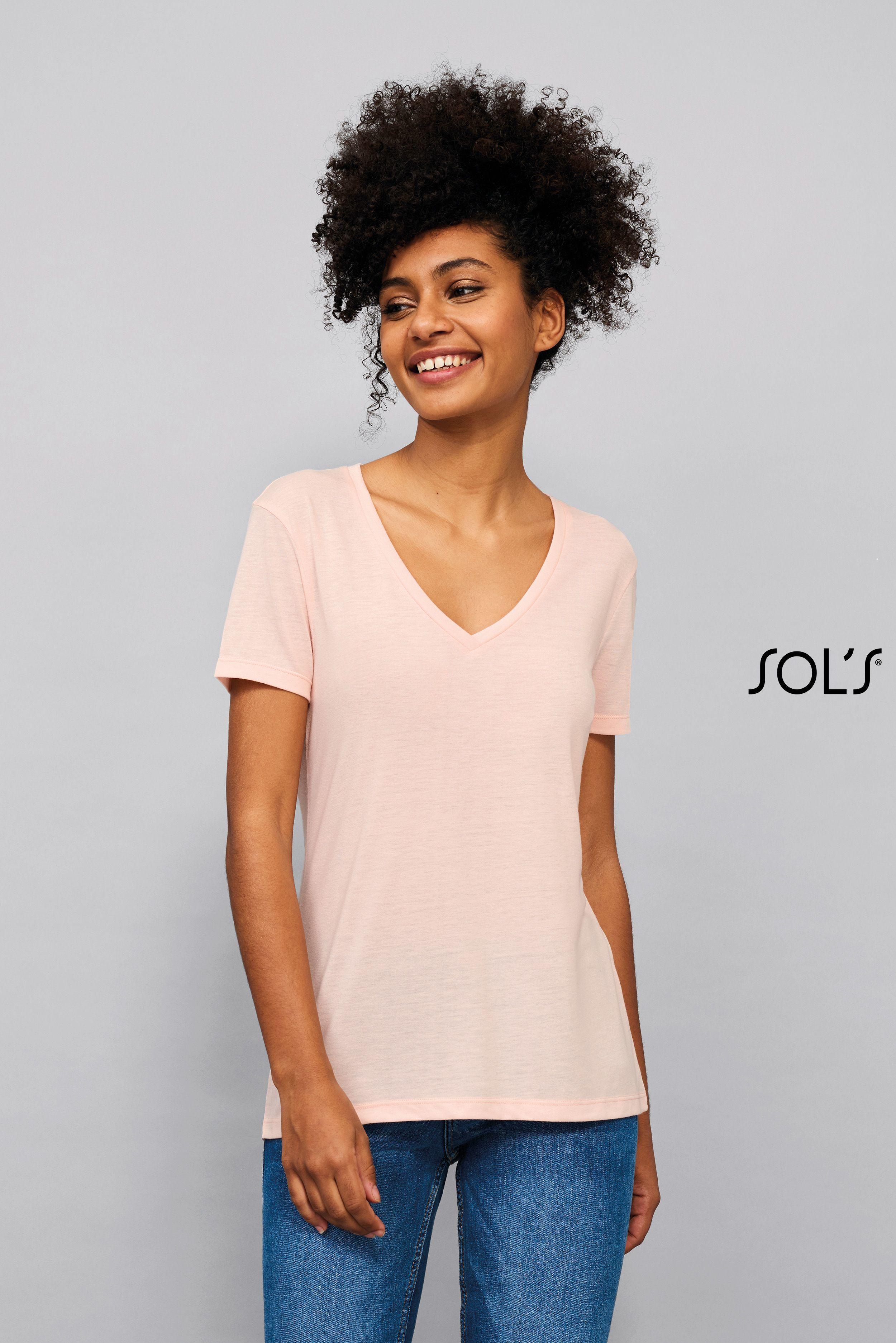 Tee-shirt femme fluide col V
