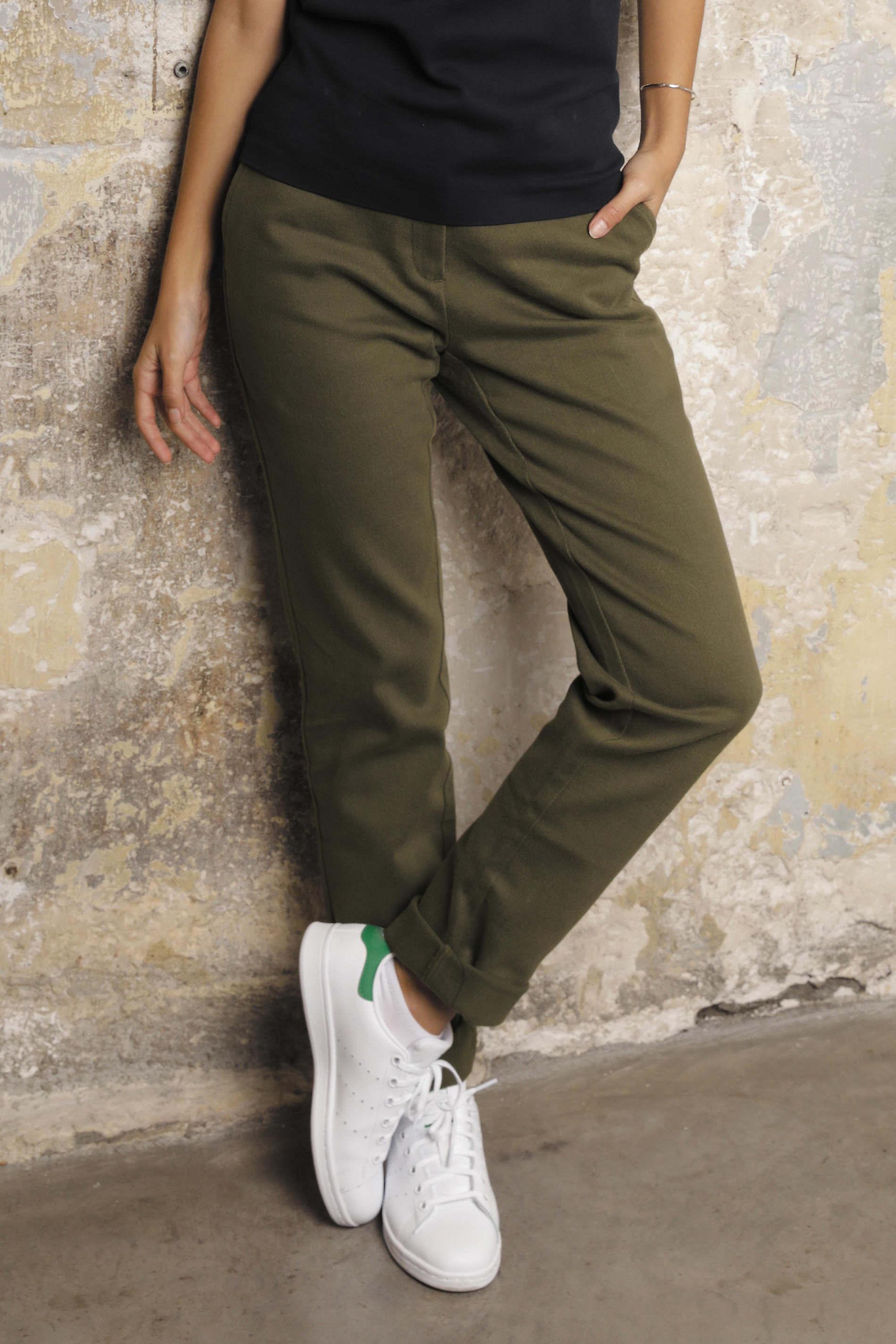 Pantalon chino taille élastiquée femme