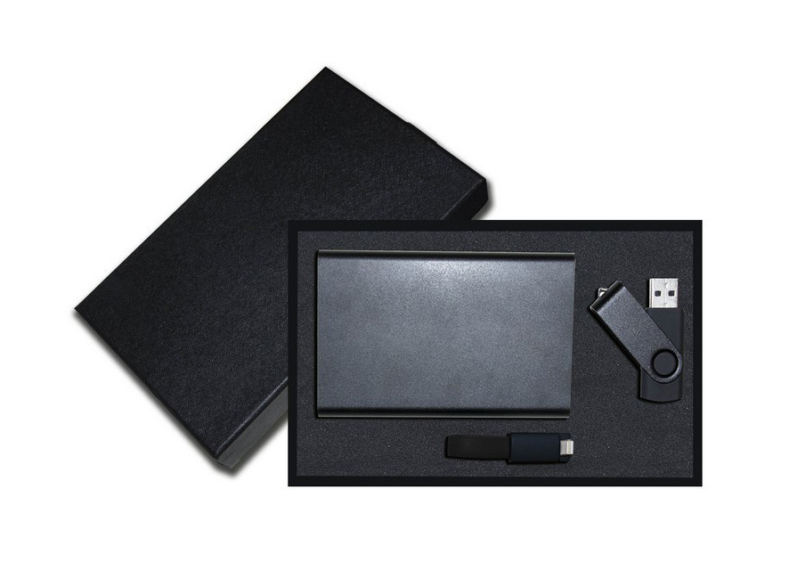 Powerbank métal, clé USB et câble 2-en-1