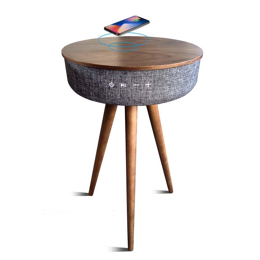 Table en bois avec enceinte compatible avec batterie induction