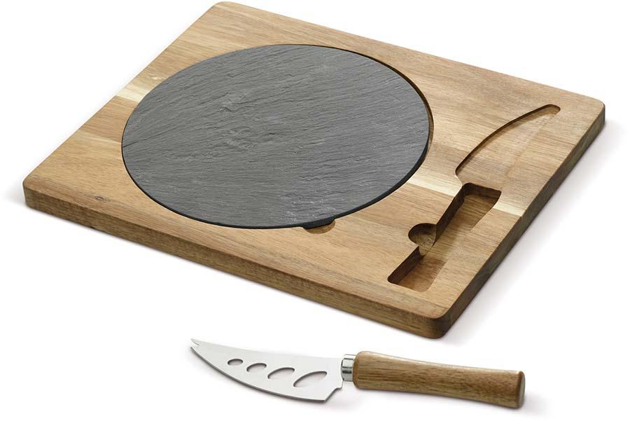 Assiette de service en ardoise avec planche de bois