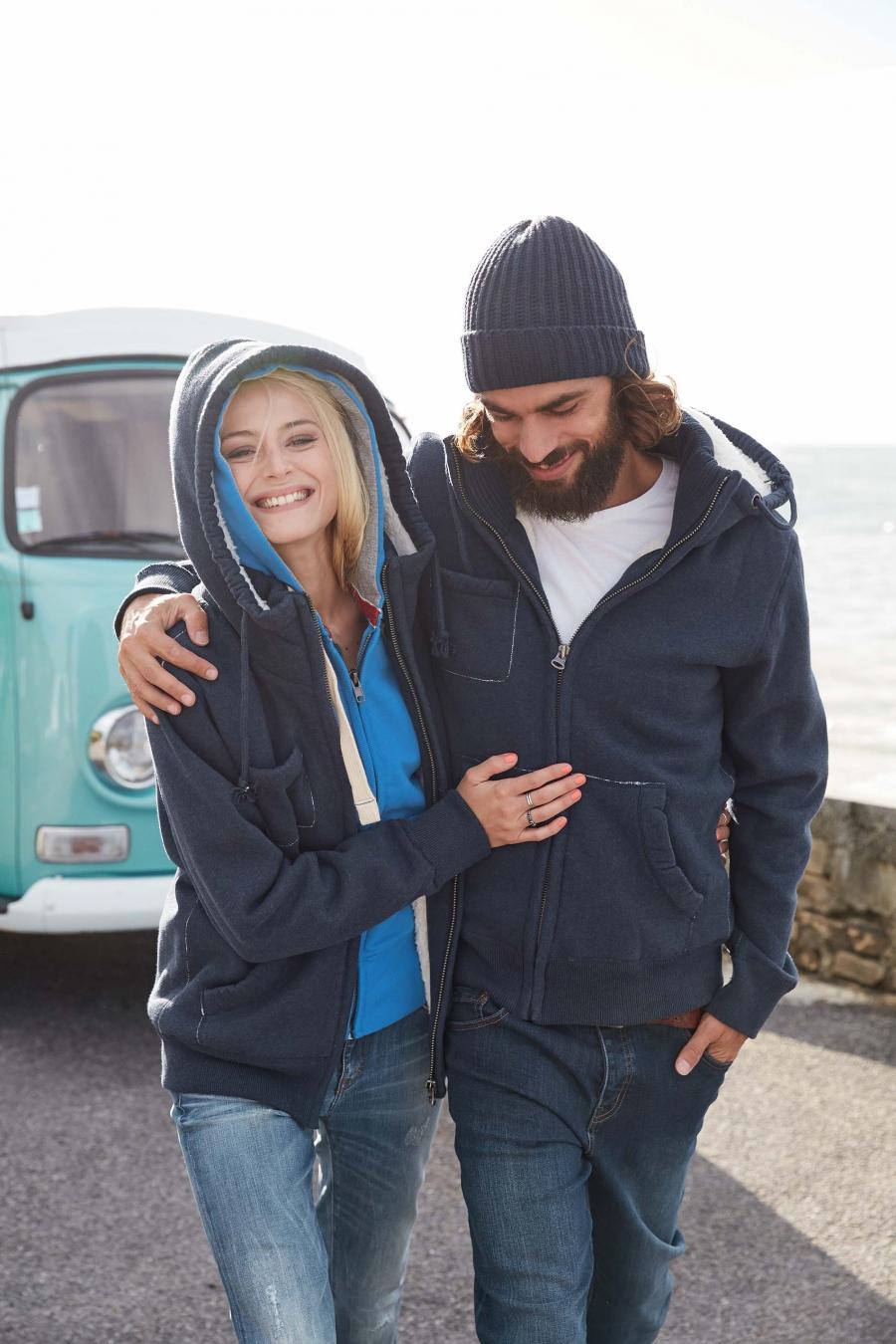 Sweat-shirt à capuche doublé sherpa unisexe