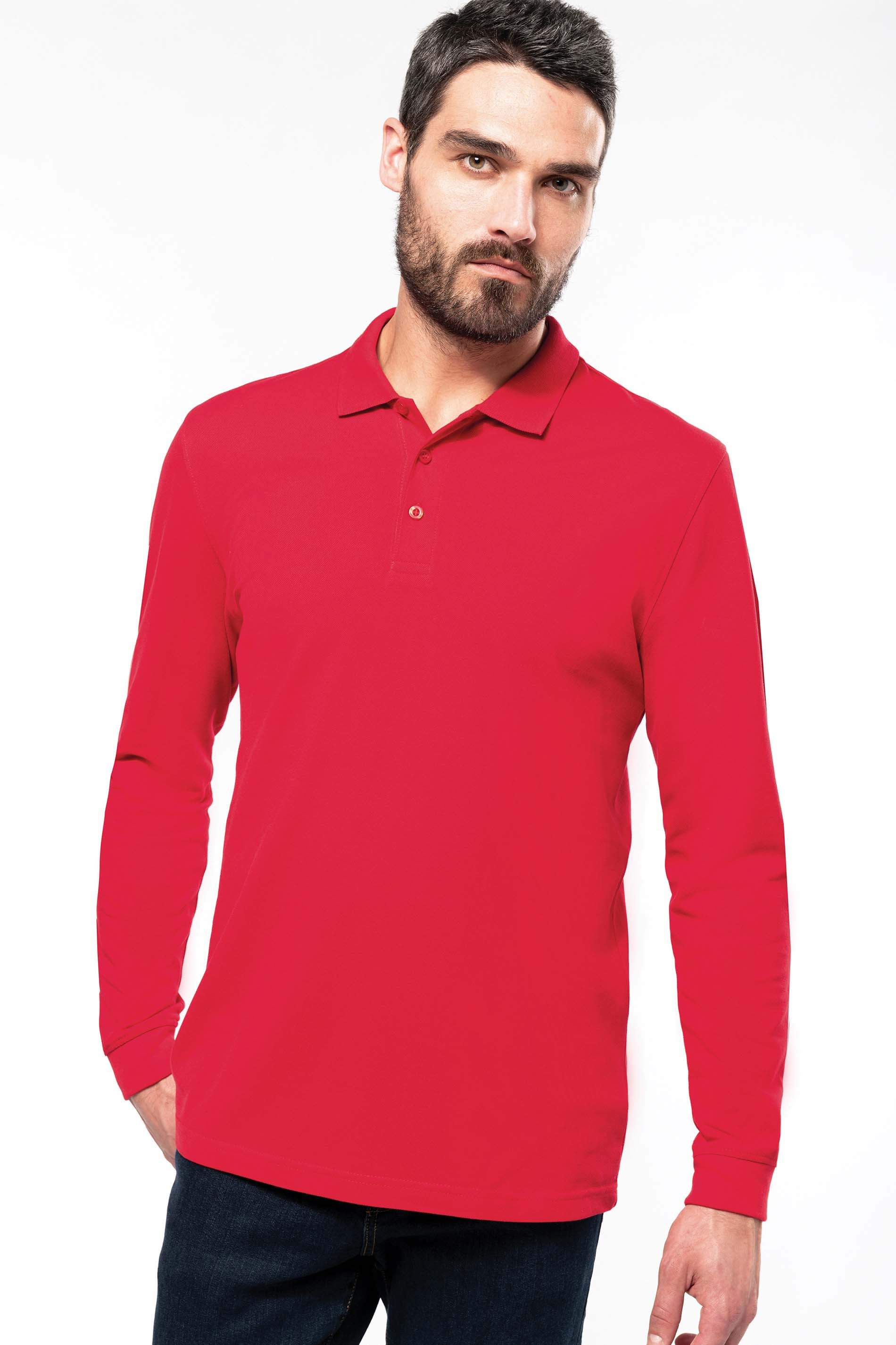 Polo maille piquée manches longues homme