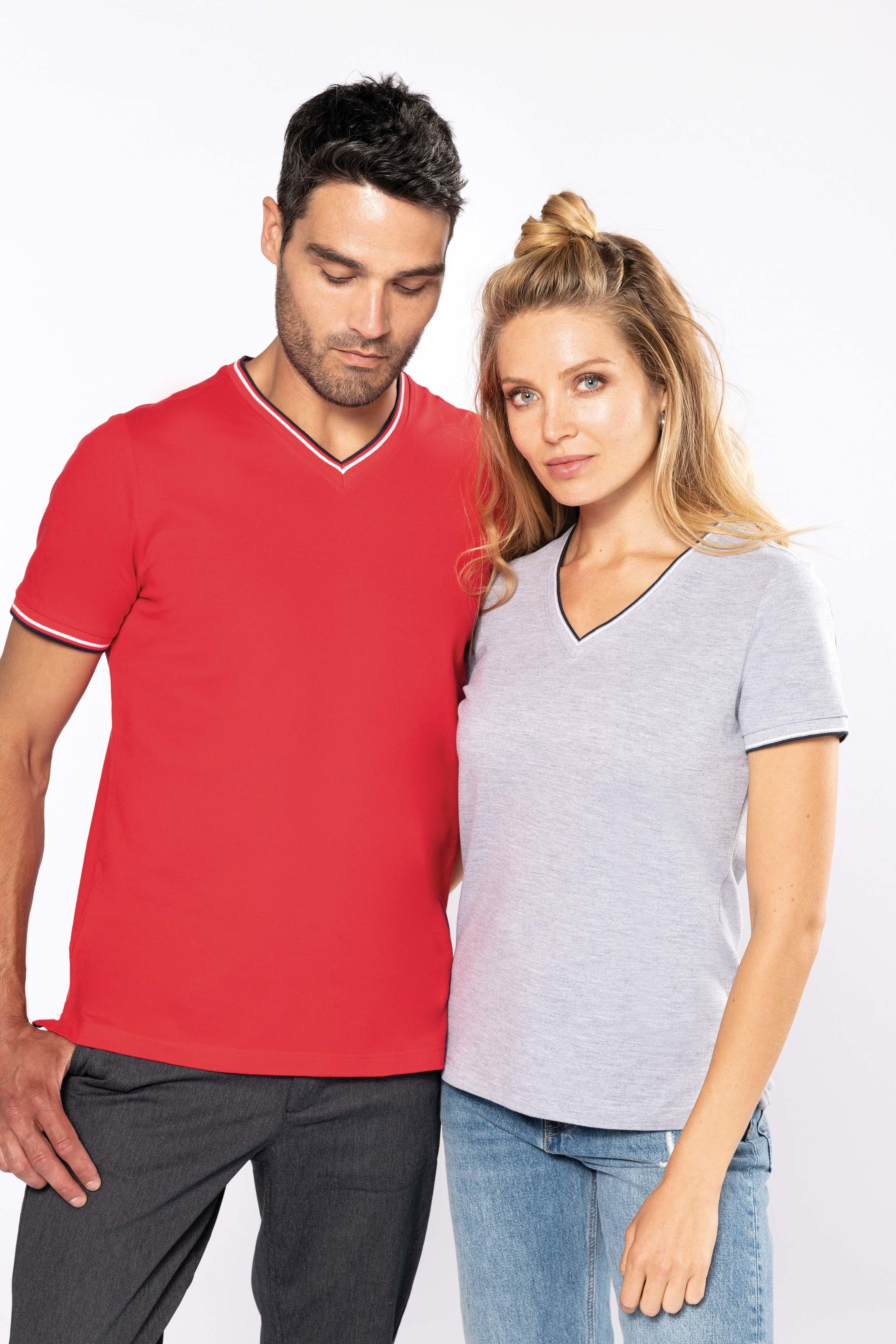Tee-shirt maille piquée col V femme