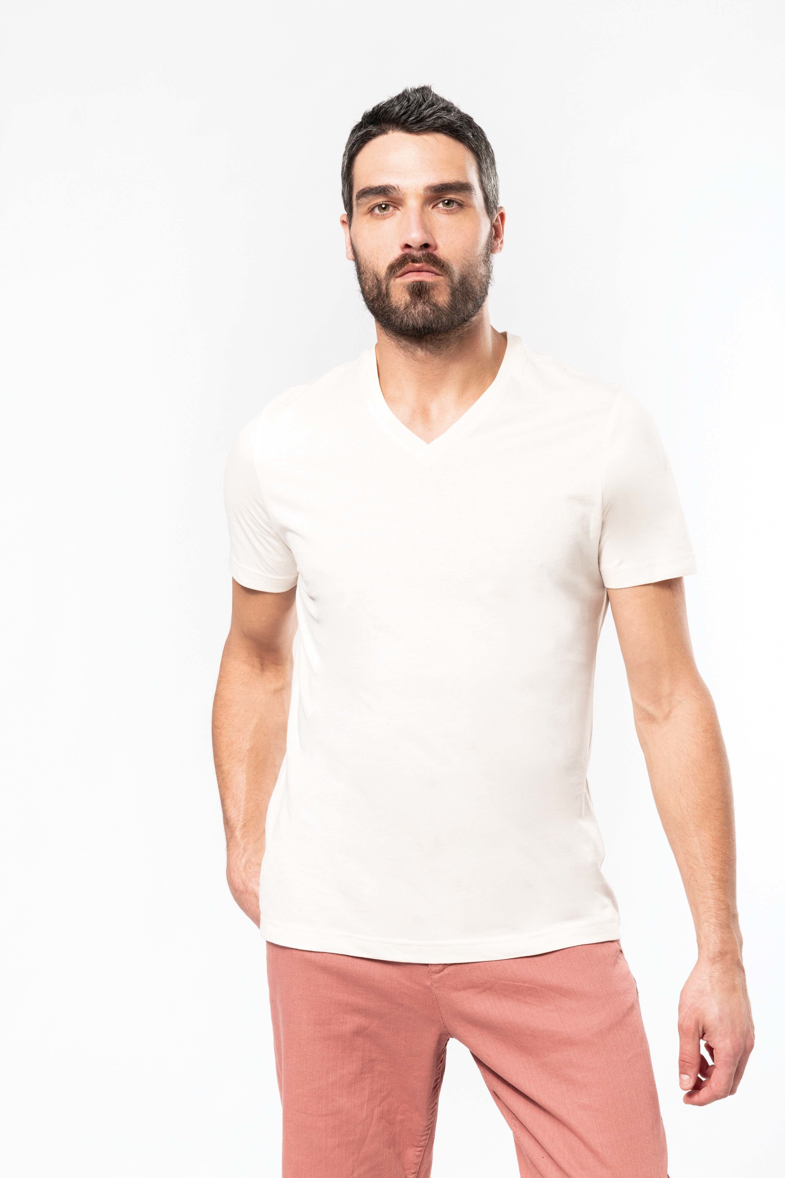 Tee-shirt coton bio col V homme
