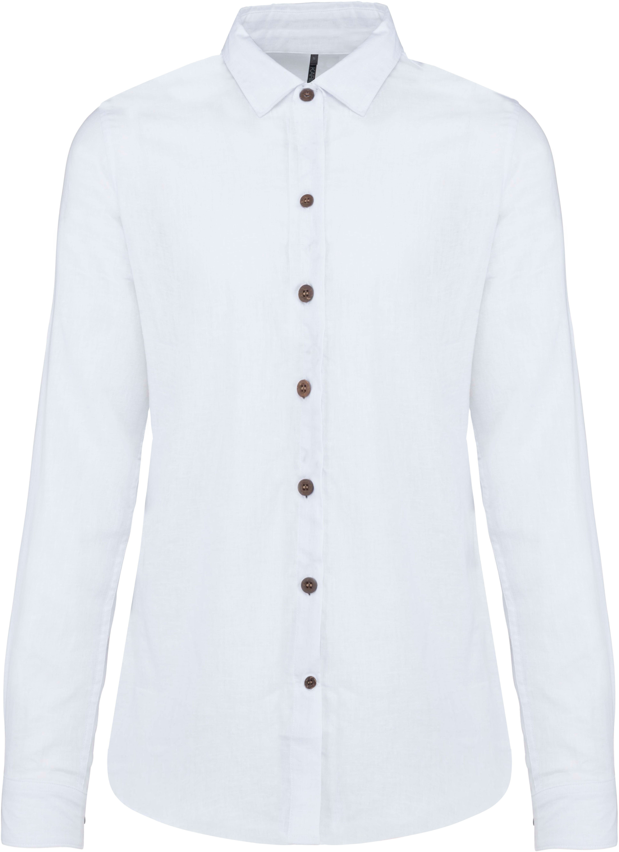 Chemise lin et coton manches longues femme - 2-1550-2