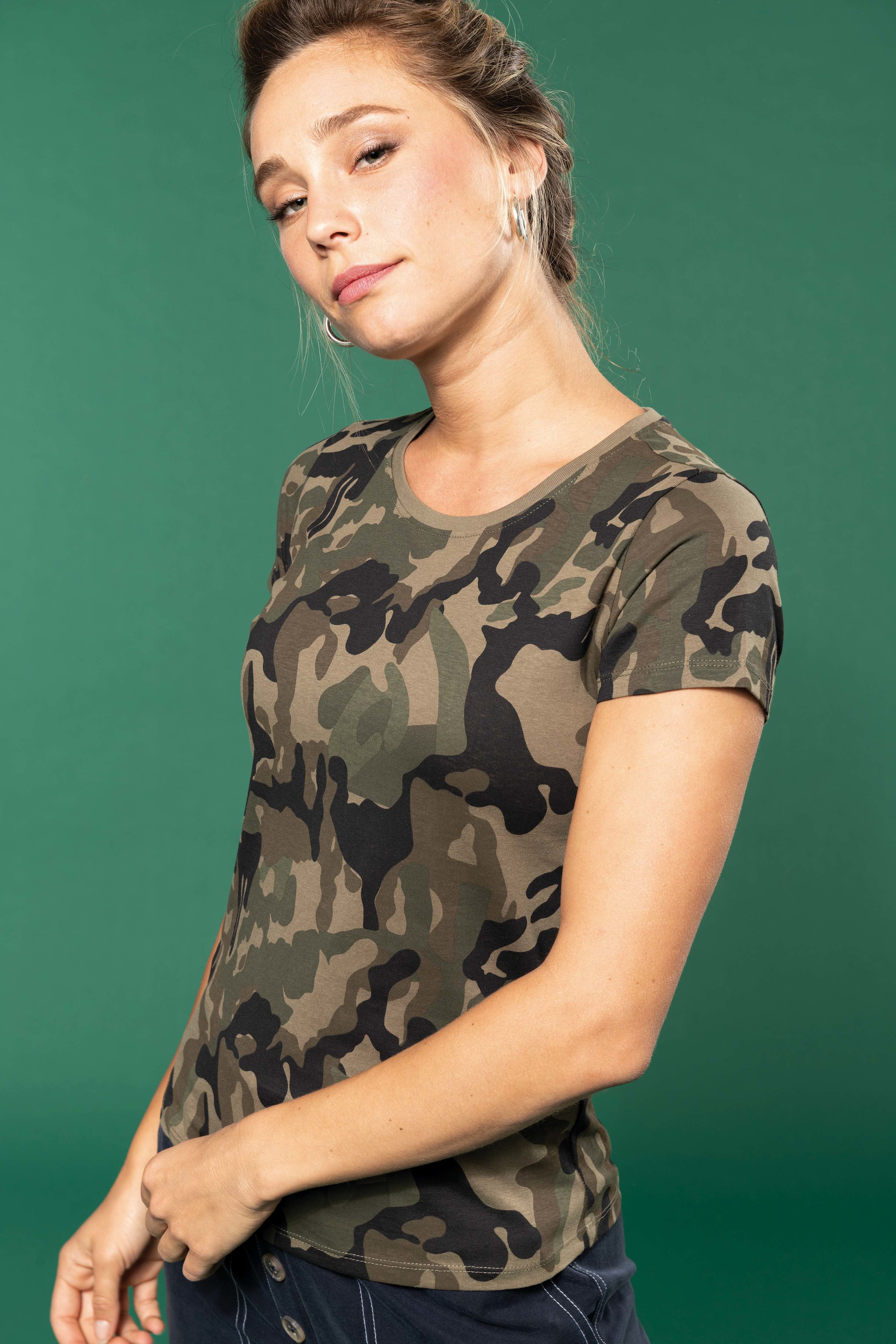 Tee-shirt camouflage manches courtes femme