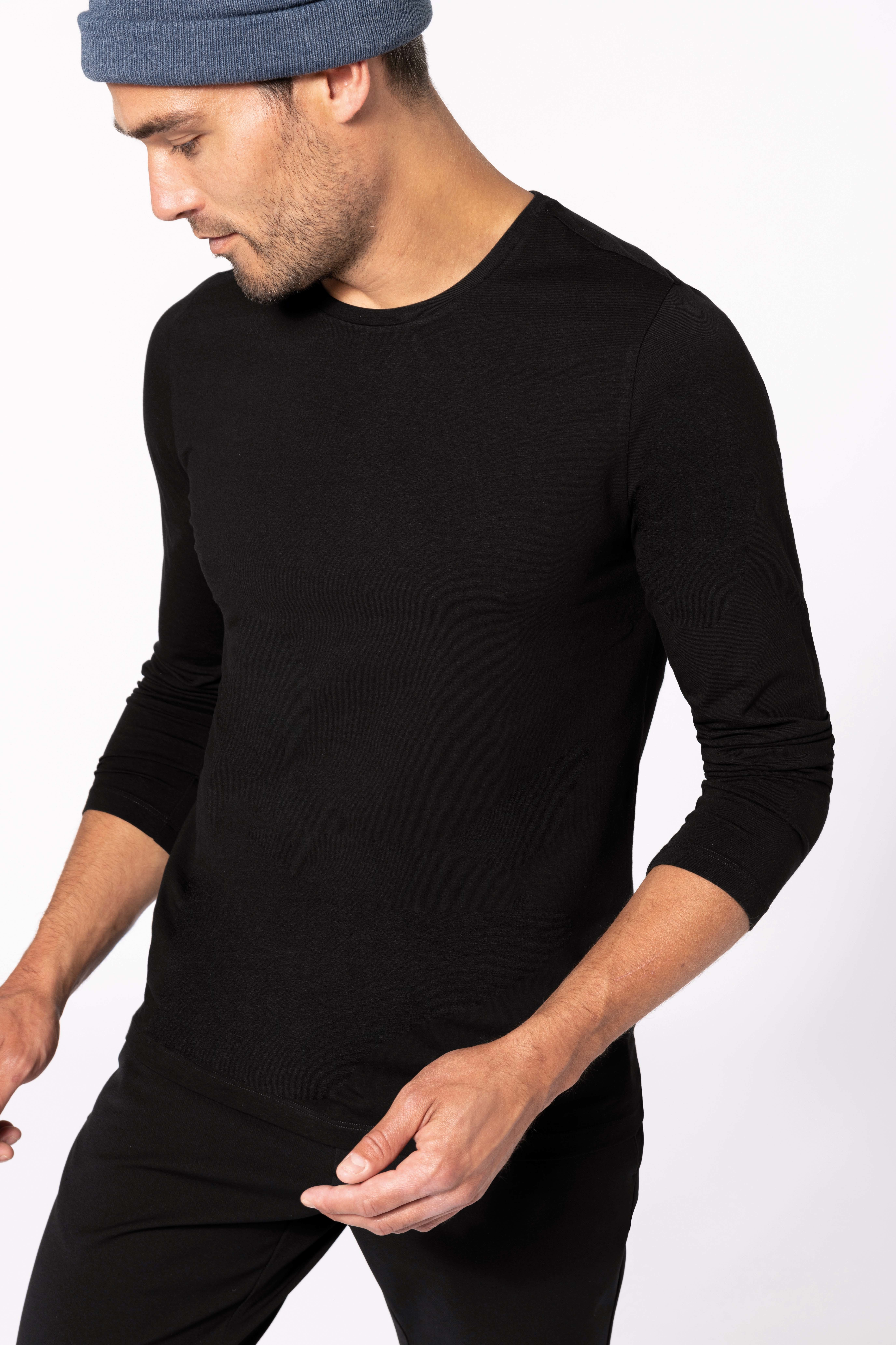 Tee-shirt col rond manches longues homme