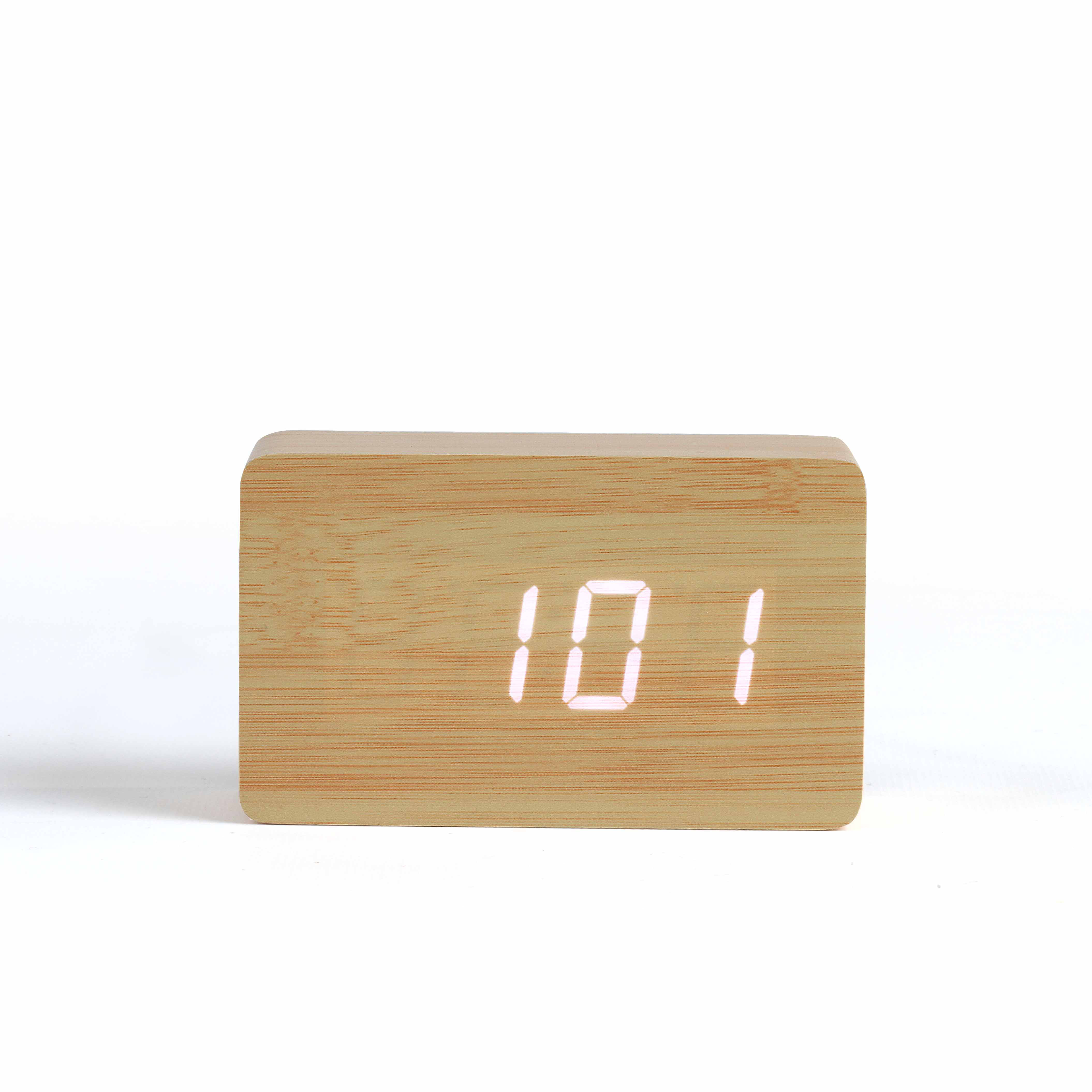 Horloge digitale aspect bois - 30-1229-3
