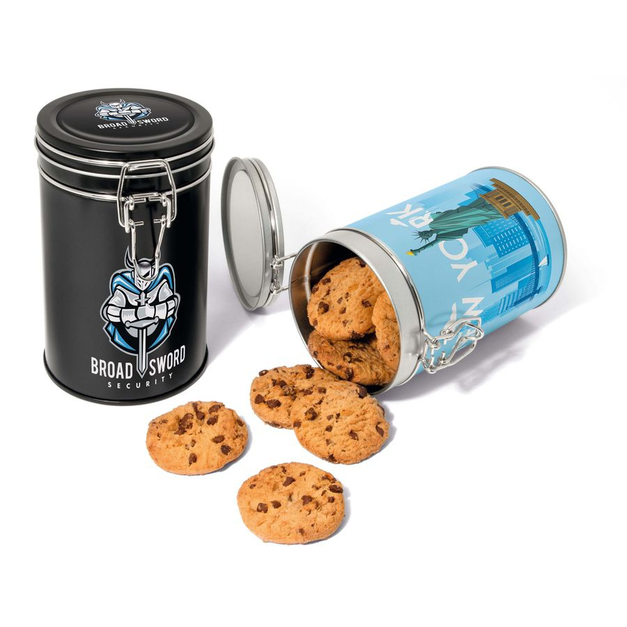 Boite métallique à charnière avec cookies