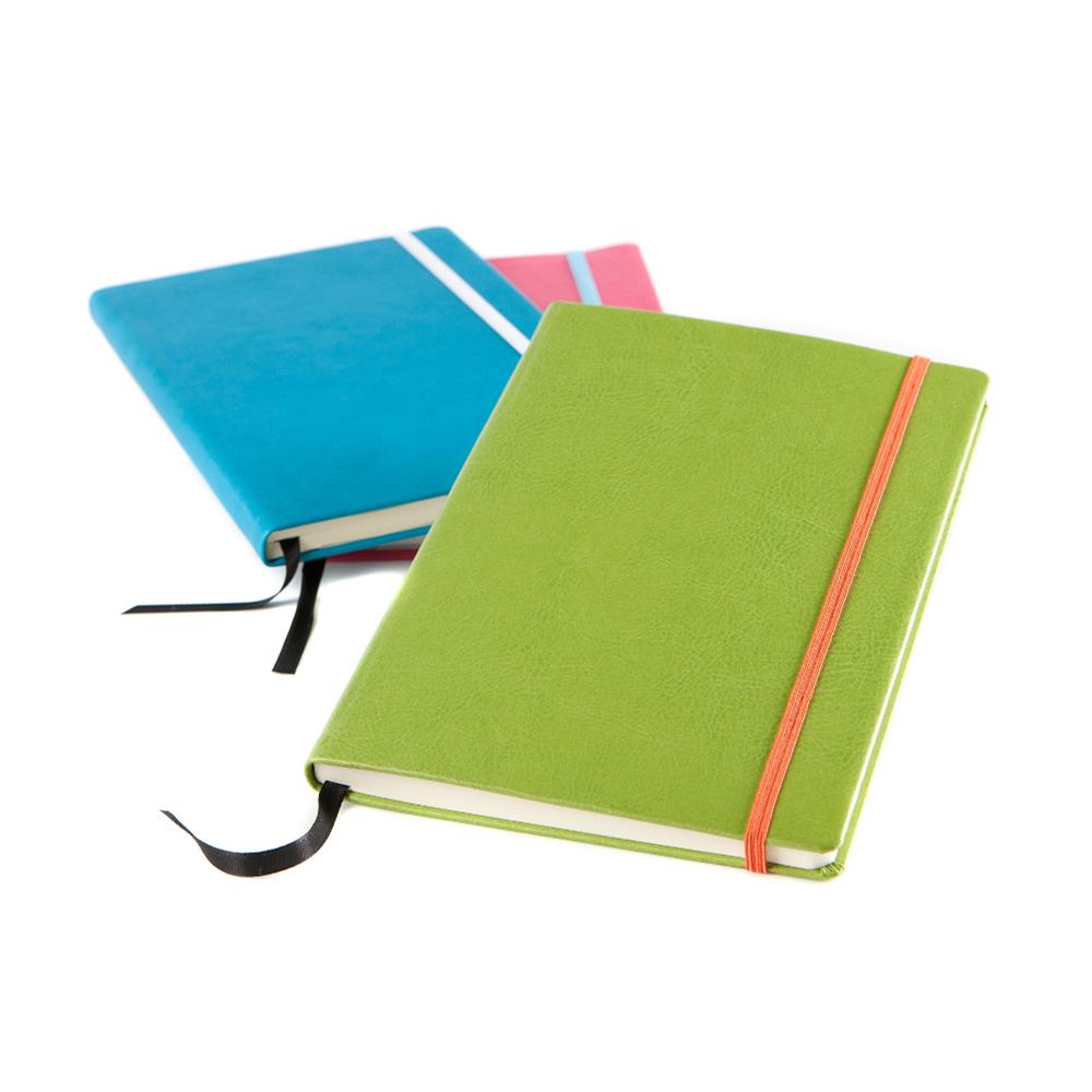 Carnet de notes A5 avec élastique en PU de couleur