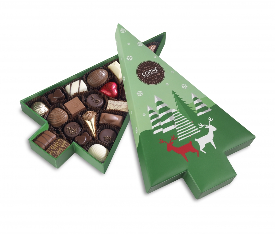 Boîte sapin de Noël 2018 avec couvercle