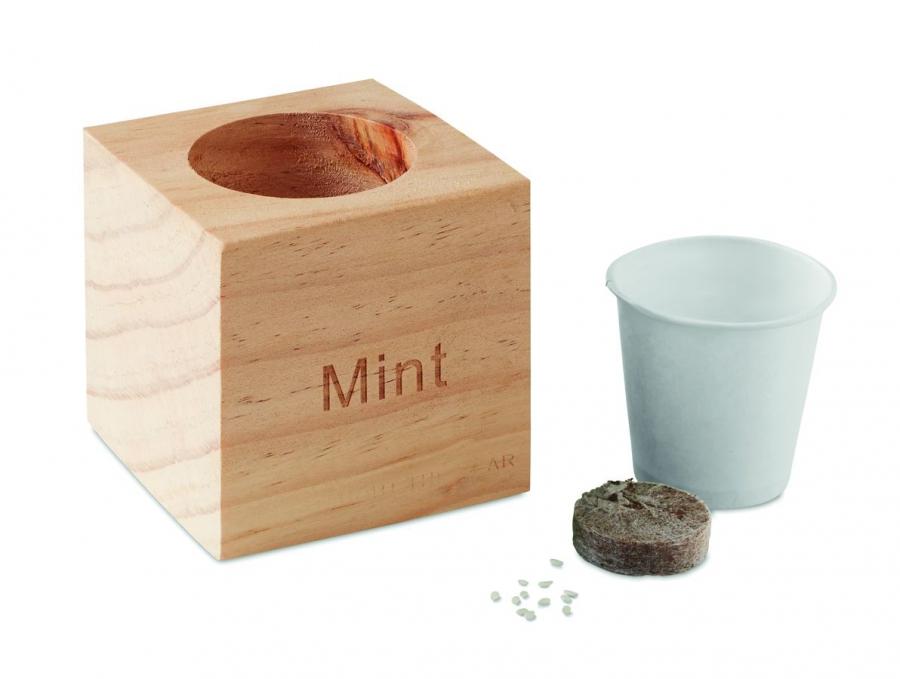 Pot en bois avec graine - 6-1606-2