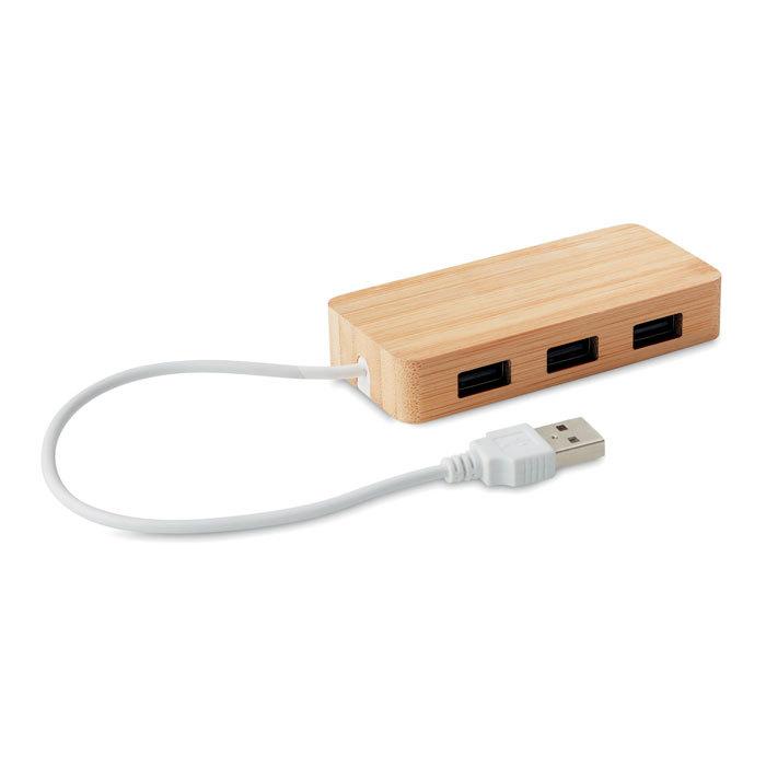 Hub USB 3 ports et boîtier bambou