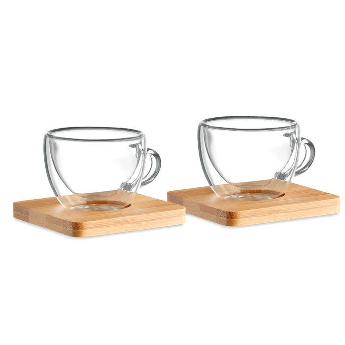 Ensemble de 2 verres à expresso et soucoupe en bambou