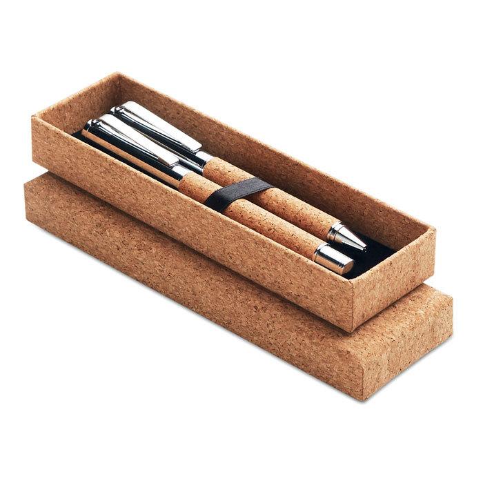 Parure stylo métal et liège