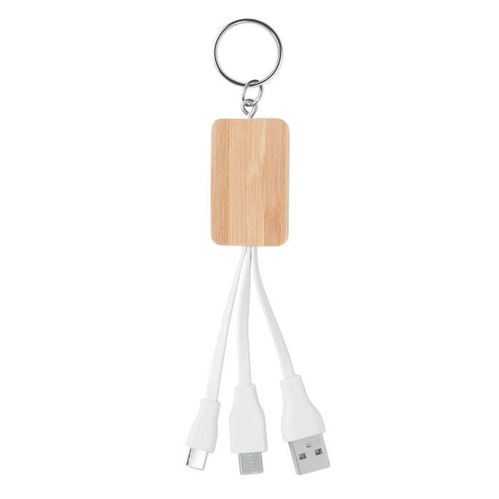 Porte-clés en bambou avec câble de chargement
