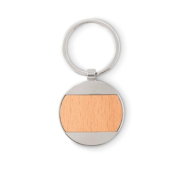 Porte-clés rond en bois et zinc