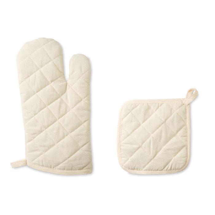 Set gant et manique en coton