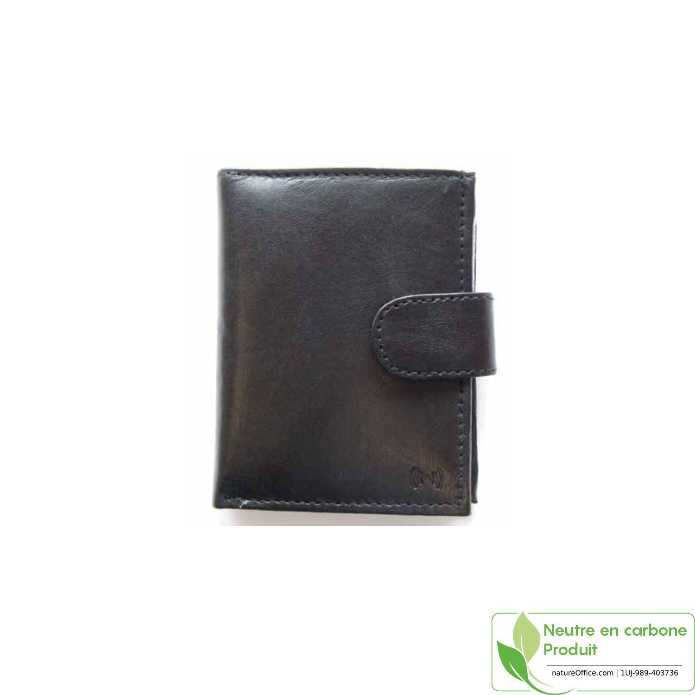 Etui en cuir RFID avec compartiment monnaies