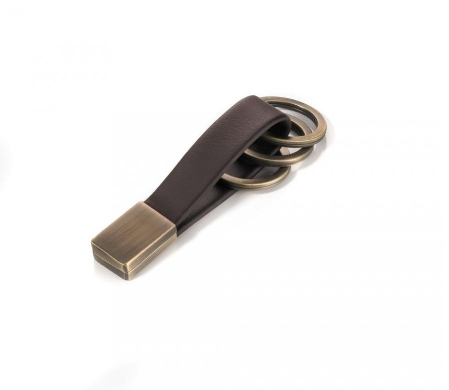 Porte-clés en cuir et métal