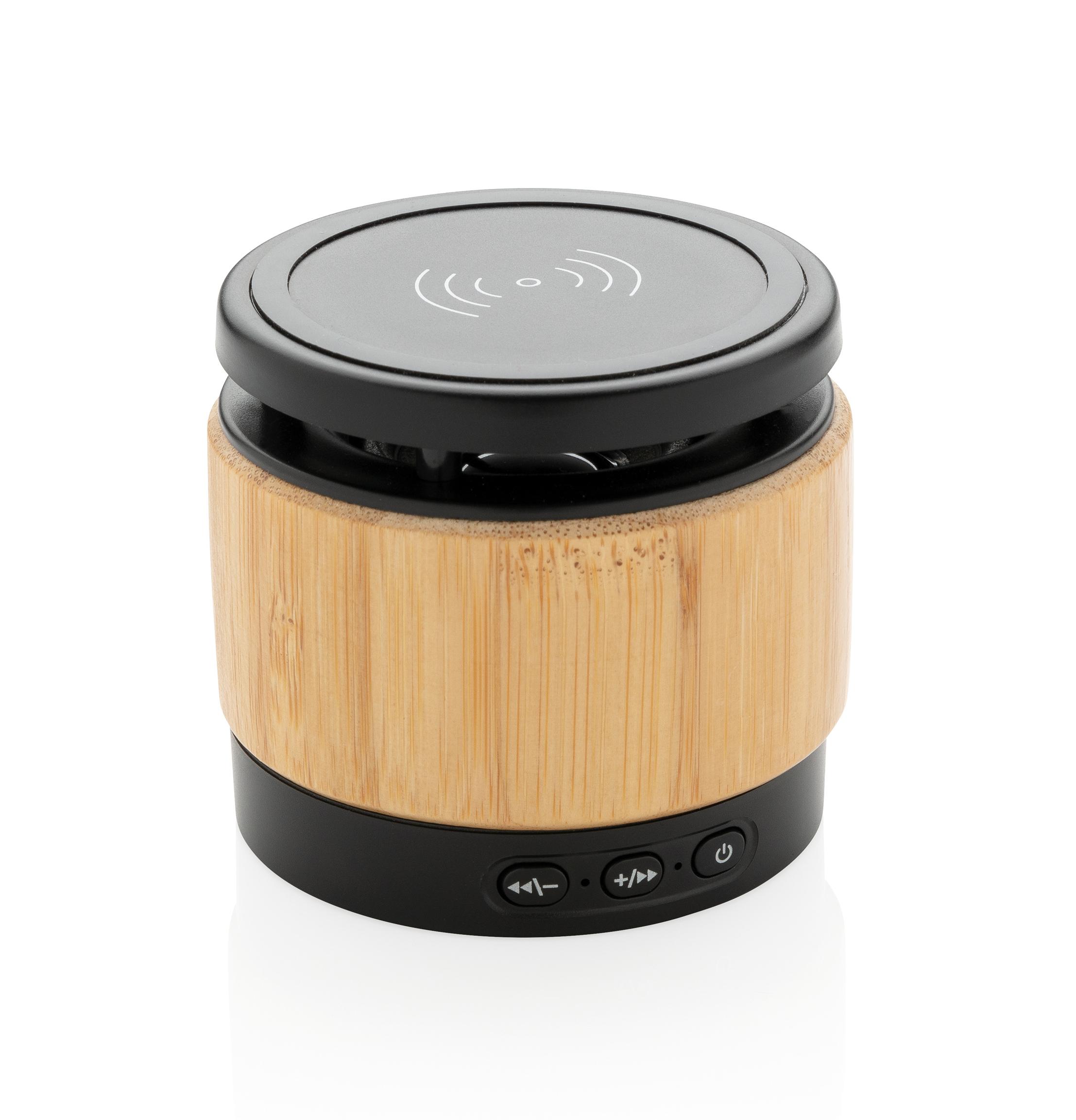 Enceinte 3W avec chargeur à induction en bambou