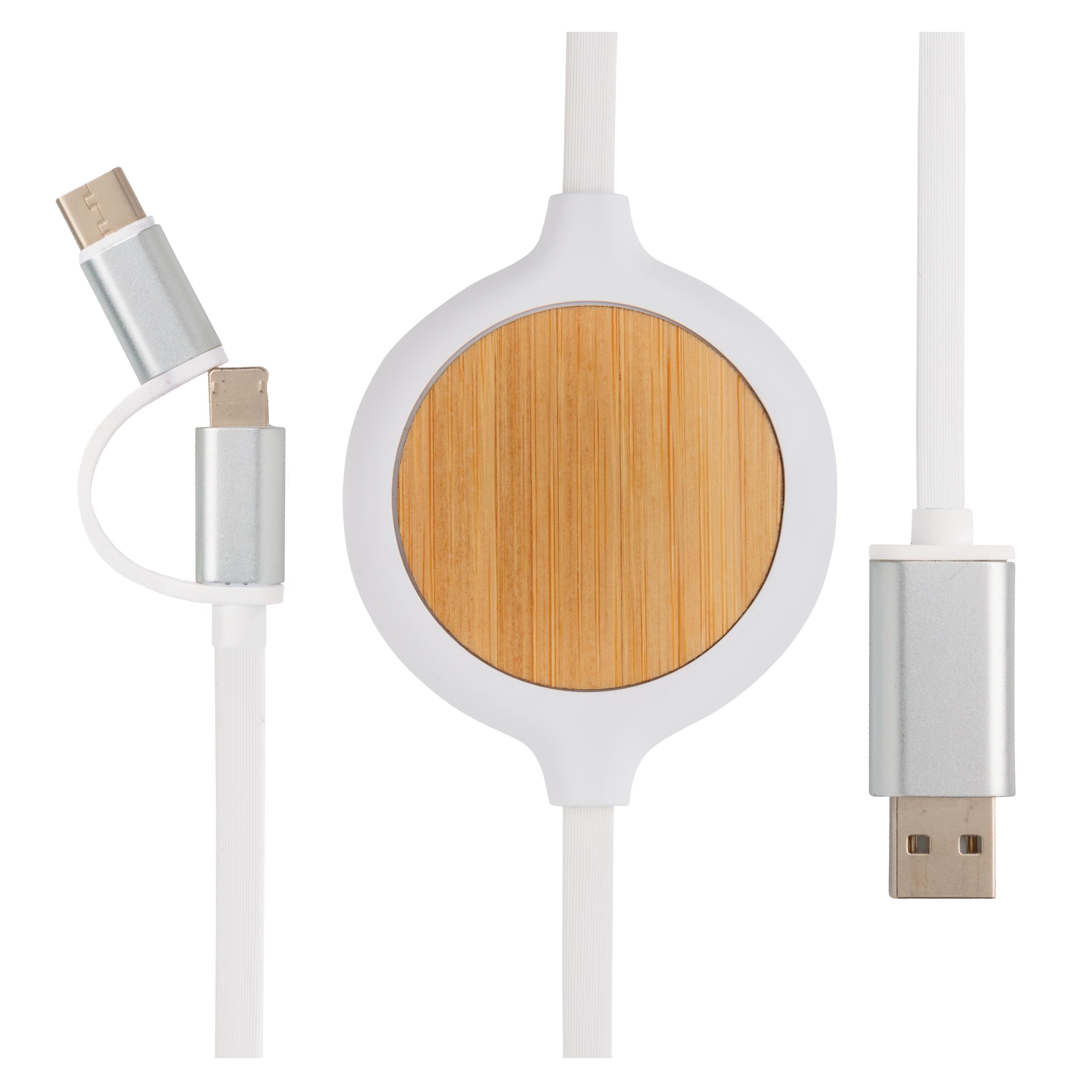 Câble 3-en-1 avec chargeur sans fil en Bambou 5W