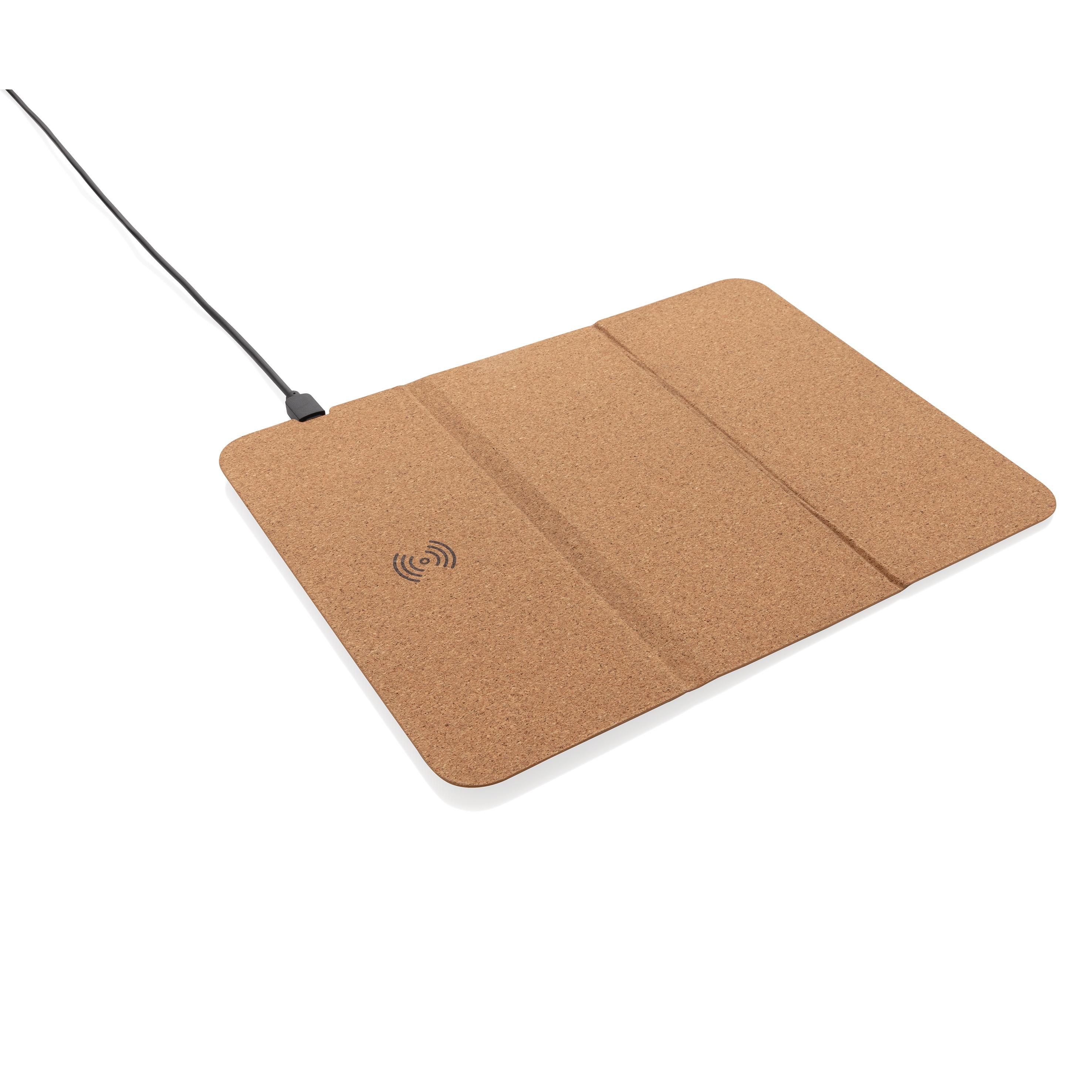 Tapis de souris en liège avec support téléphone et induction
