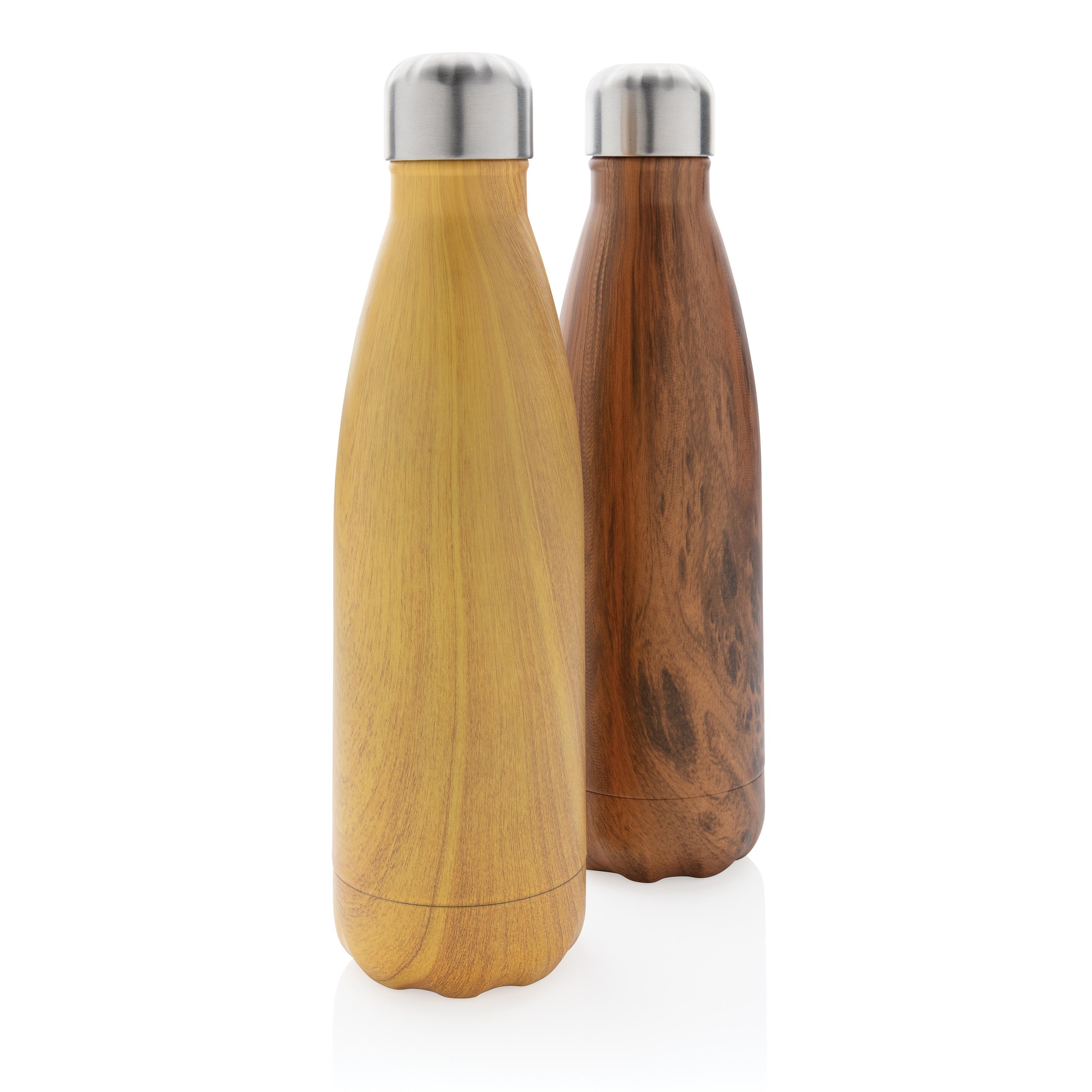 Bouteille isotherme en acier avec effet bois