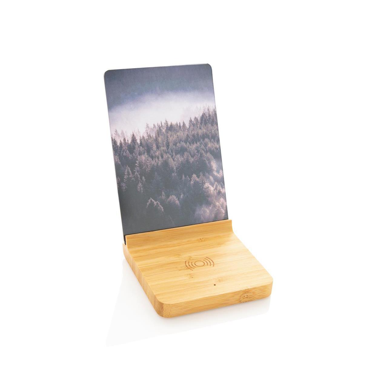 Cadre photo avec chargeur sans fil 5W en bambou