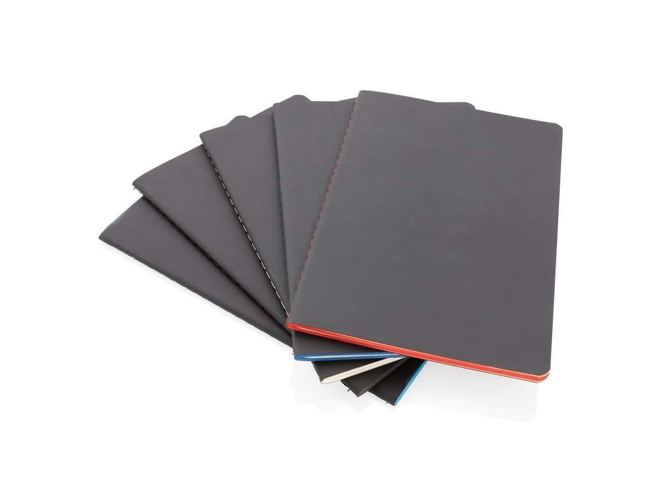 Carnet de notes A5 avec couverture souple et bord coloré