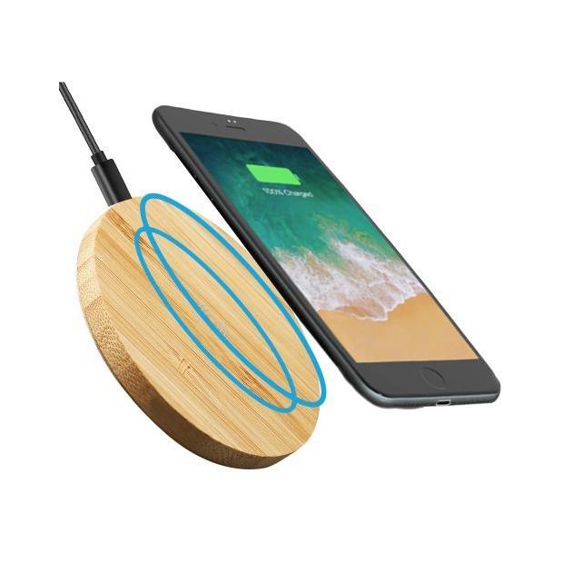 Chargeur de bureau à induction en bambou