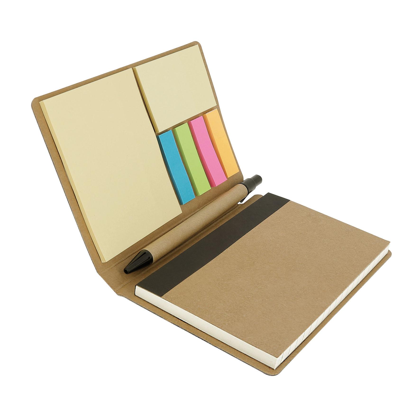 Carnet recyclé feuilles adhésives, marque-pages et 1 stylo