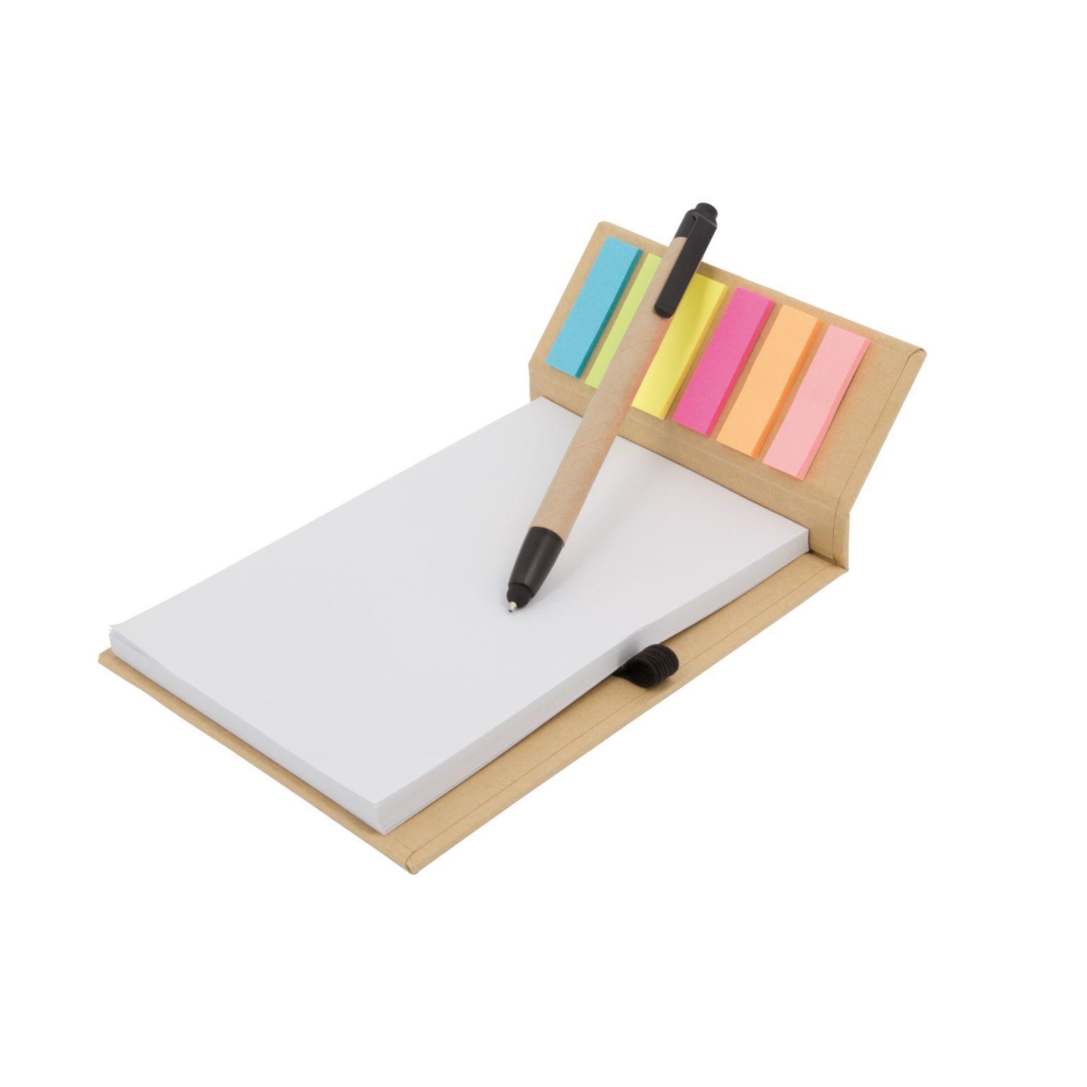 Carnet feuilles + marque-pages adhésifs et stylo bille